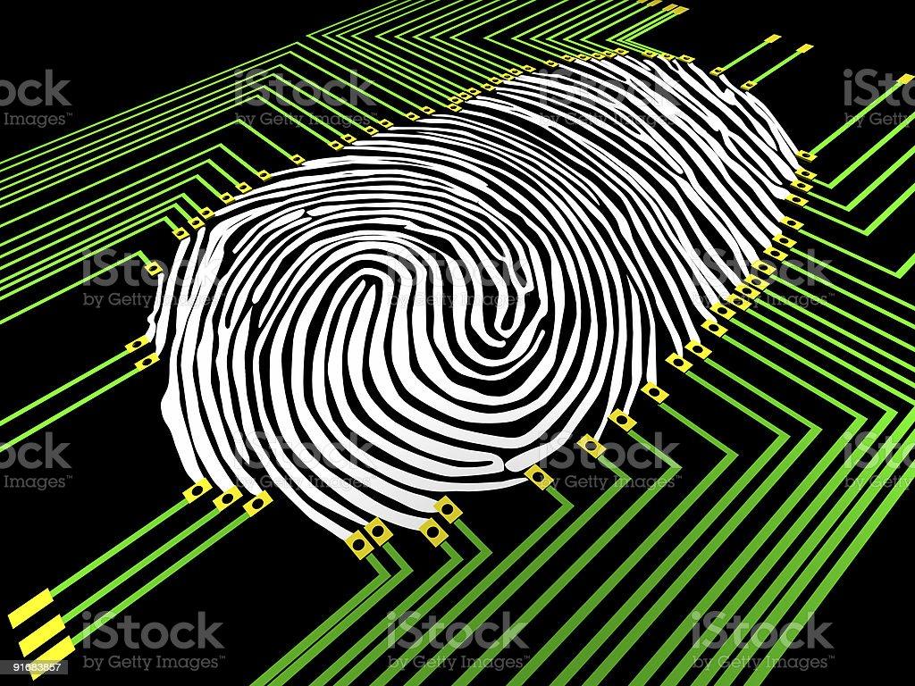 Computer image of fingerprinting analysis royalty-free stock photo