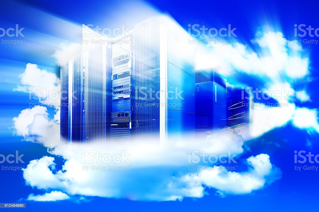 Computer  in a cloudy sky as a symbol for cloud-computing stock photo