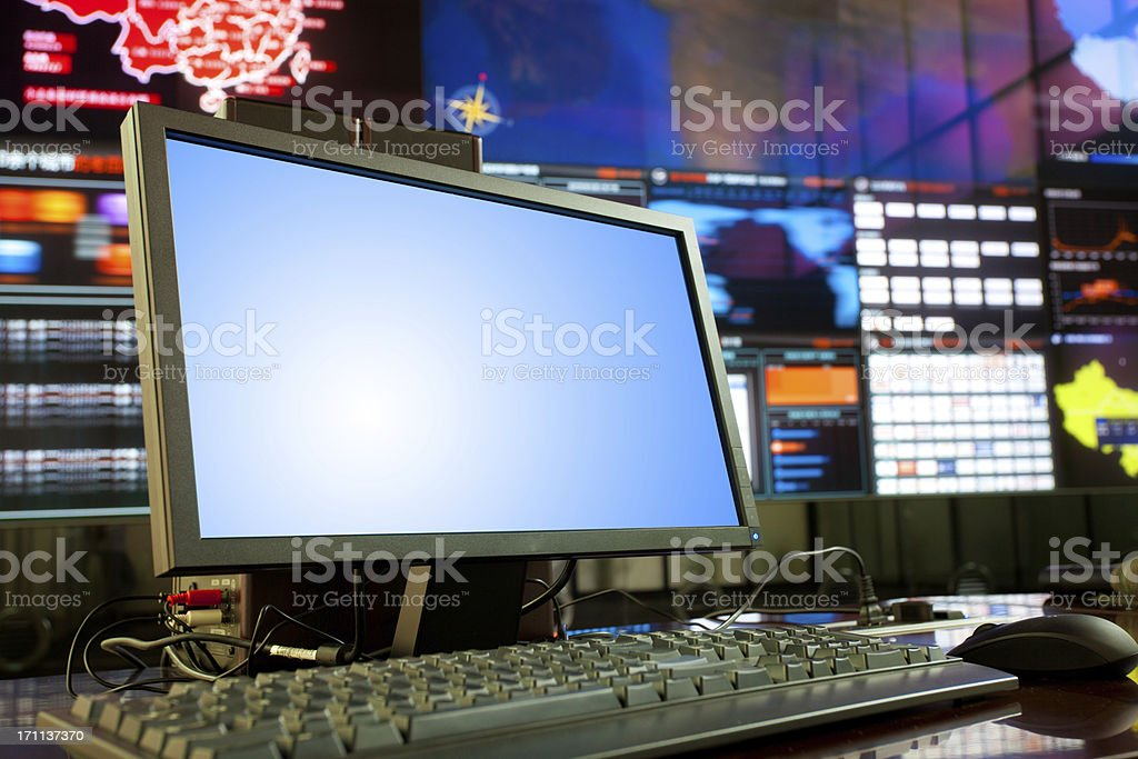 computer in data center royalty-free stock photo