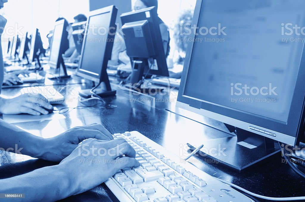Computer in the library stock photo