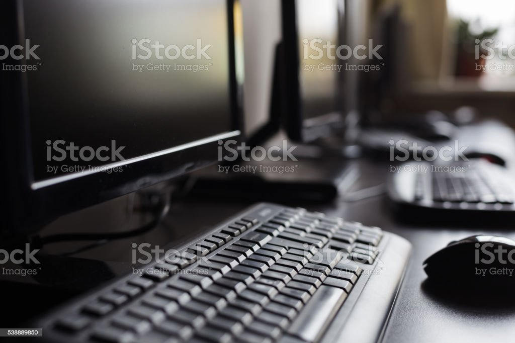 computer in the office stock photo