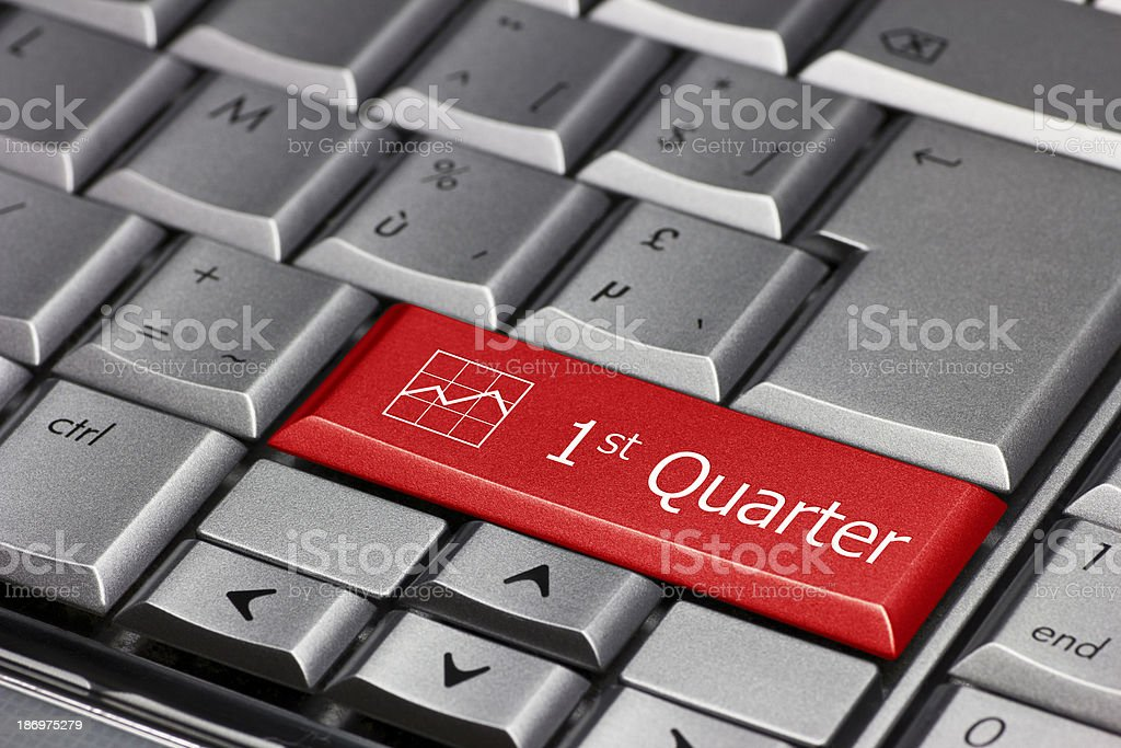 Computer key - 1st quarter royalty-free stock photo