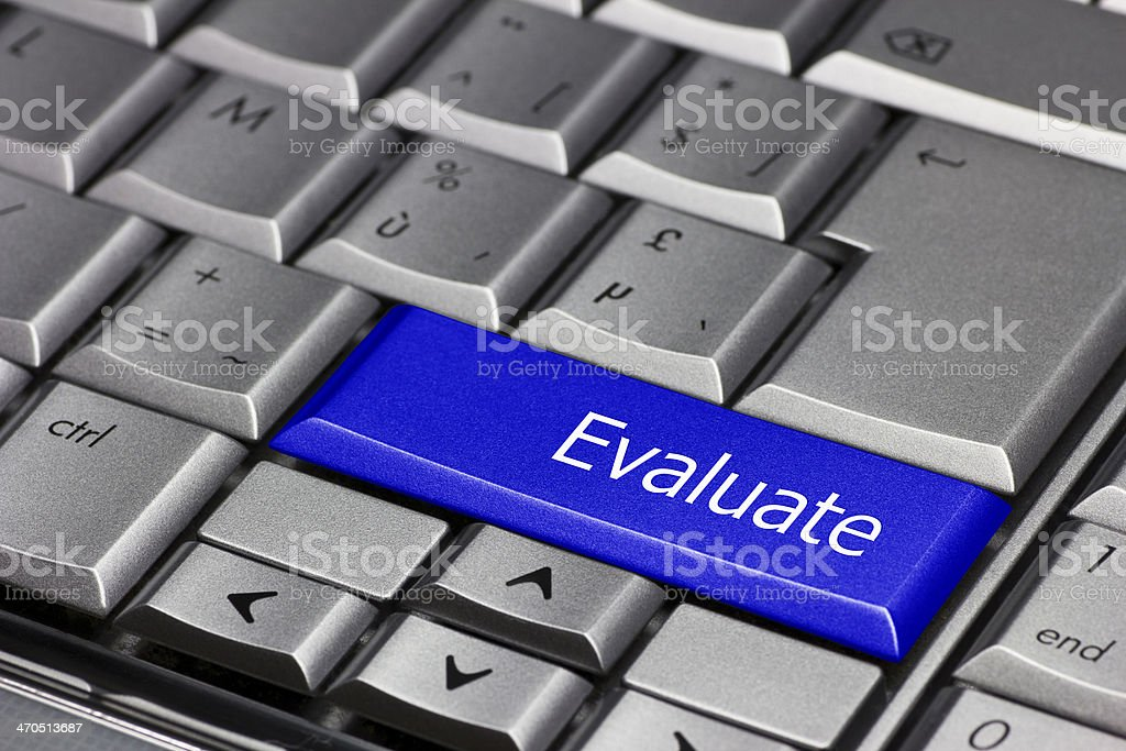 Computer key blue - Evaluate stock photo