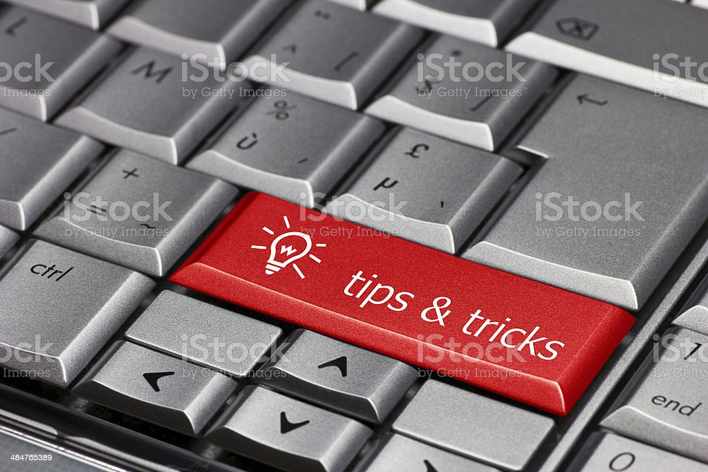 Computer key blue  - Tips and Tricks stock photo