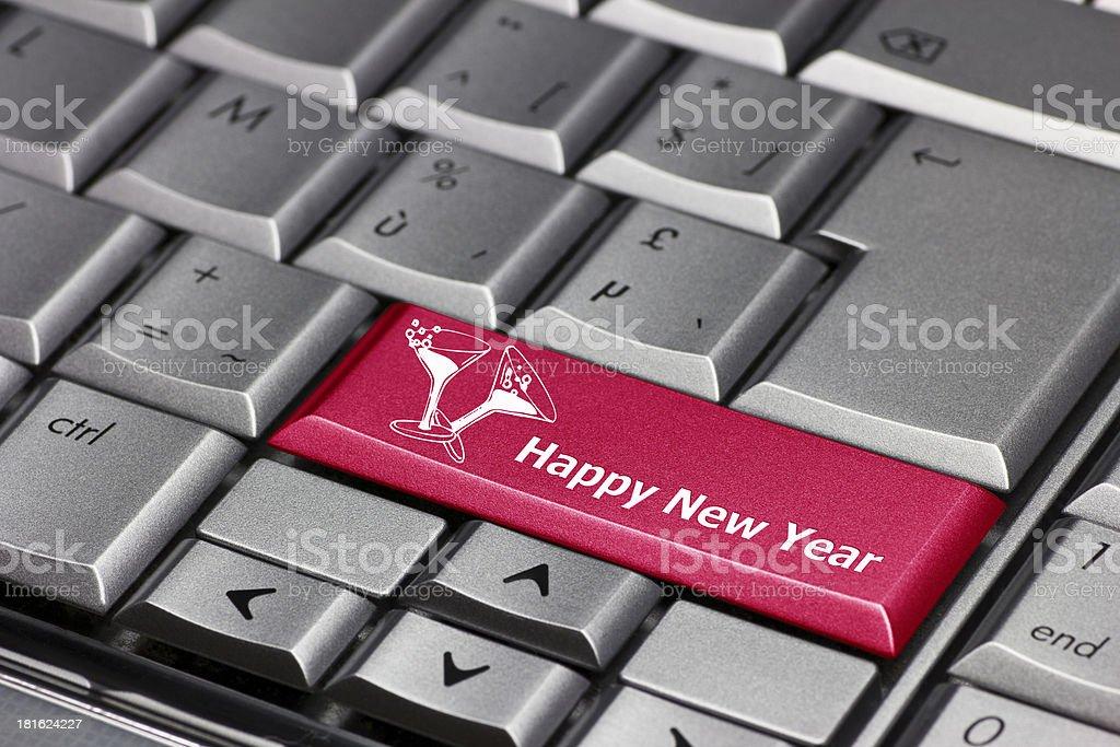 computer key - happy new year royalty-free stock photo