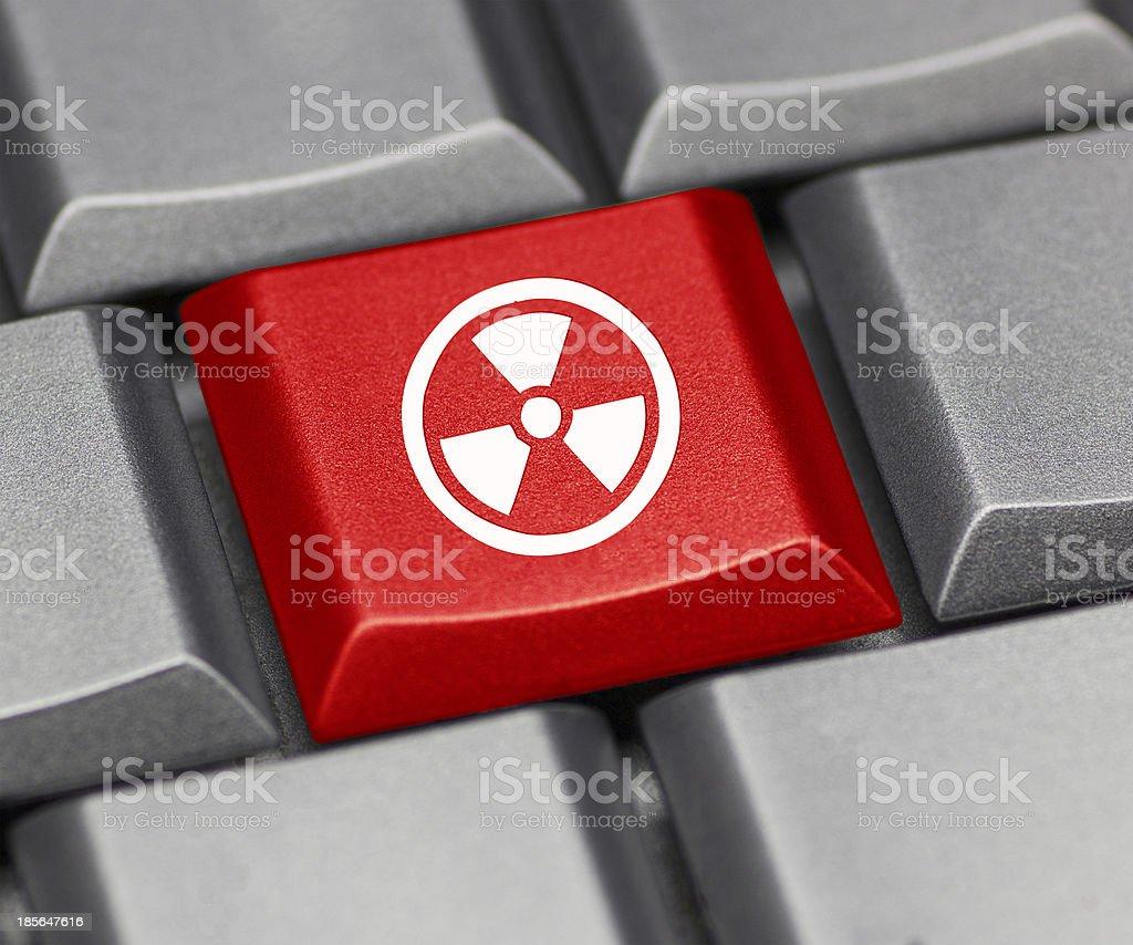 Computer key - nuclear symbol stock photo