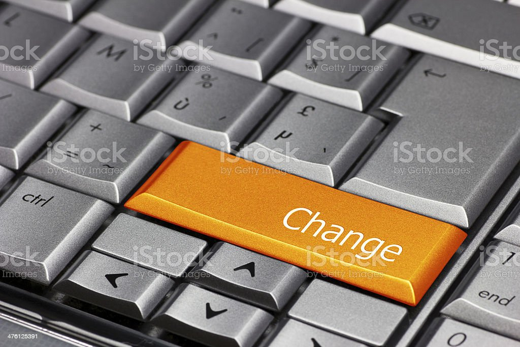 Computer Key Orange - Change stock photo