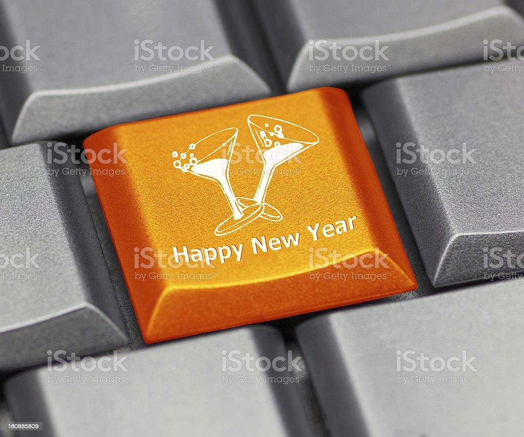 computer key orange - happy new year royalty-free stock photo