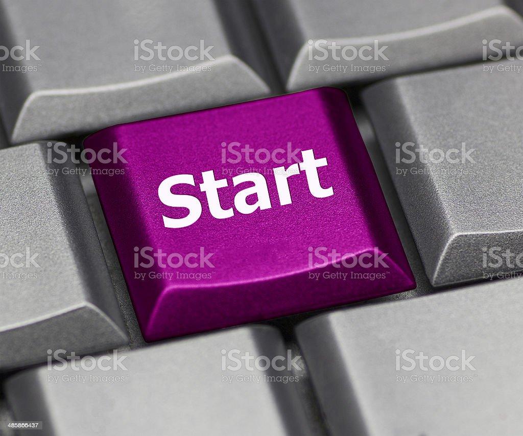 Computer key purple - Start stock photo