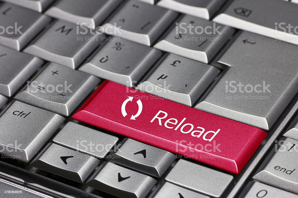 Computer key - reload with flashes symbol royalty-free stock photo