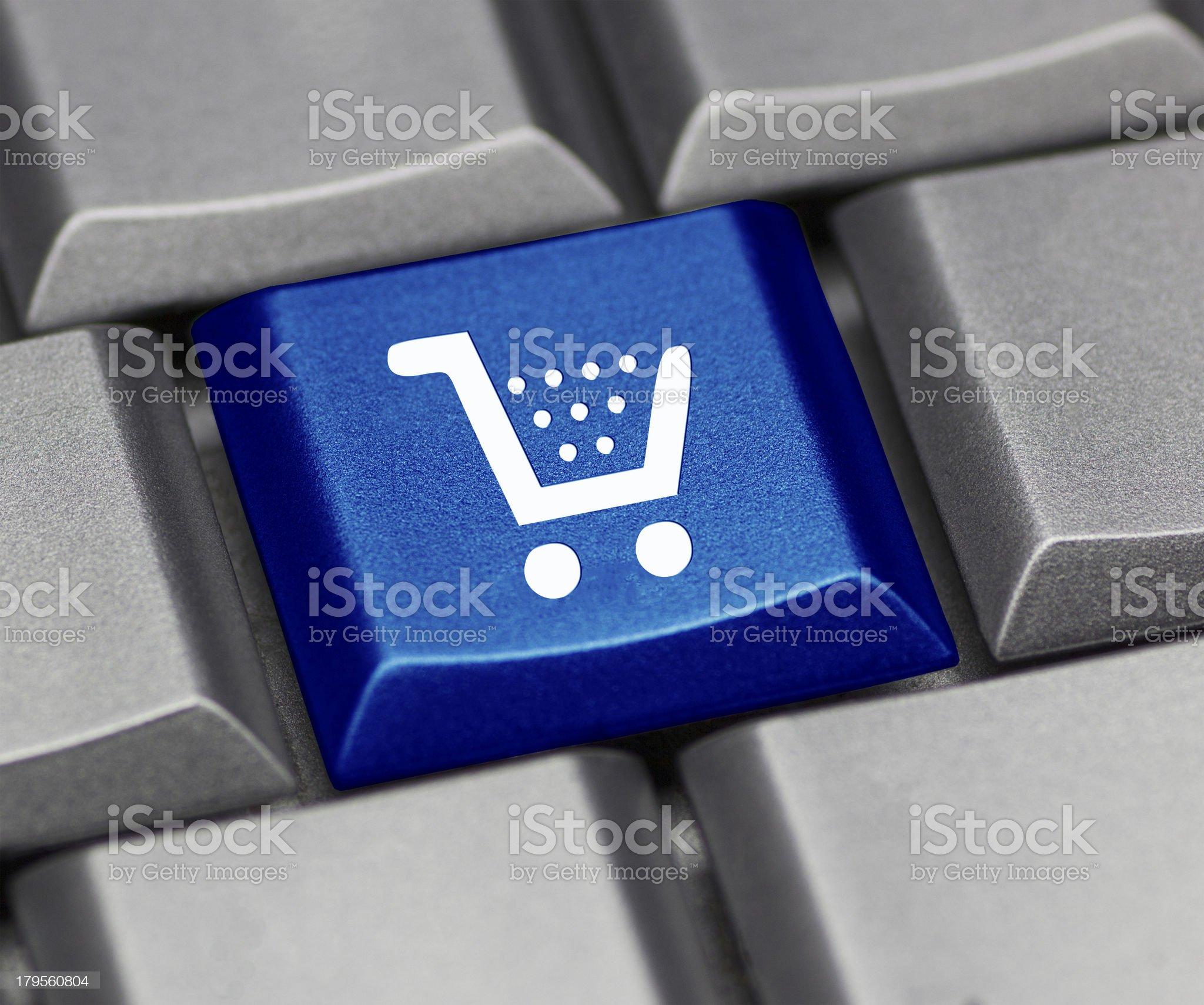 computer key shiny blue - cart royalty-free stock photo