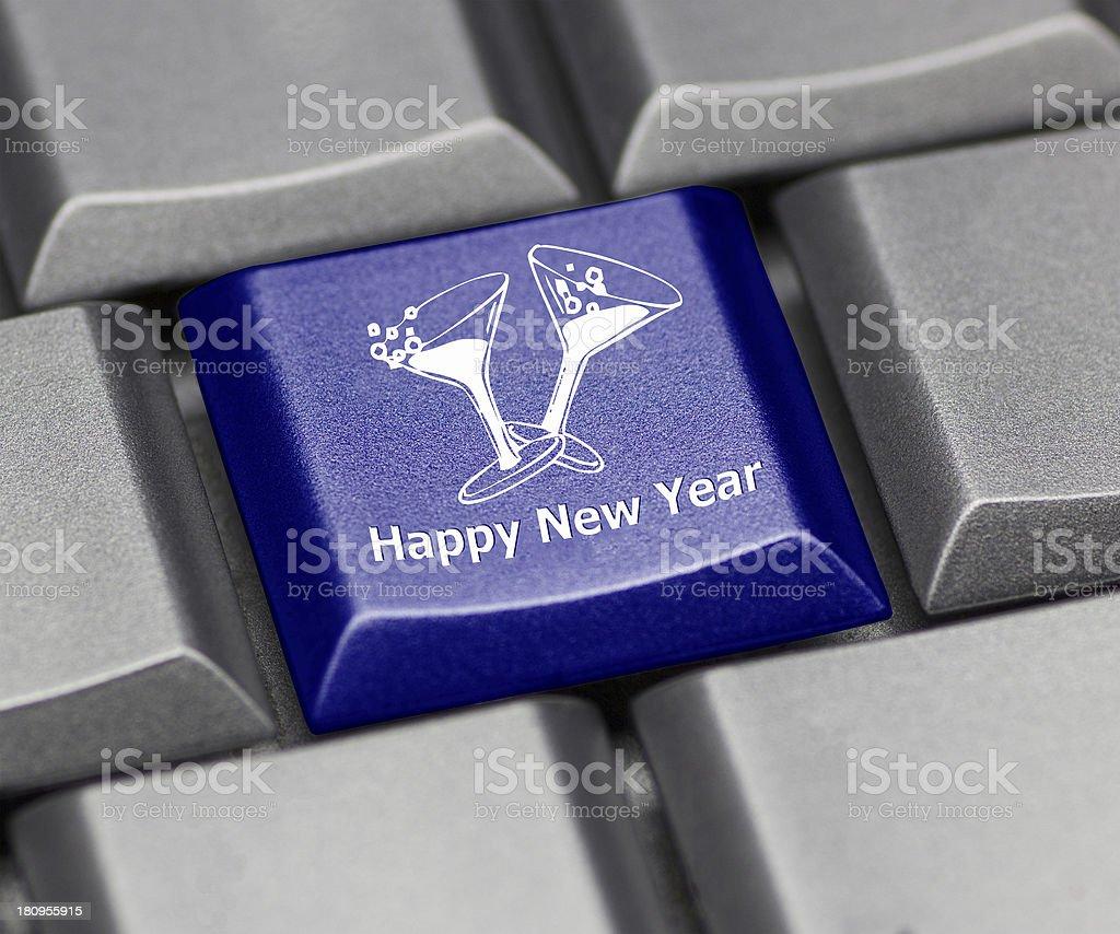 computer key shiny blue - happy new year royalty-free stock photo