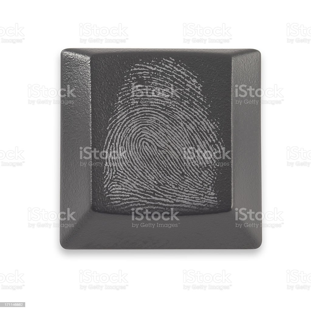 Computer Key with finger print royalty-free stock photo