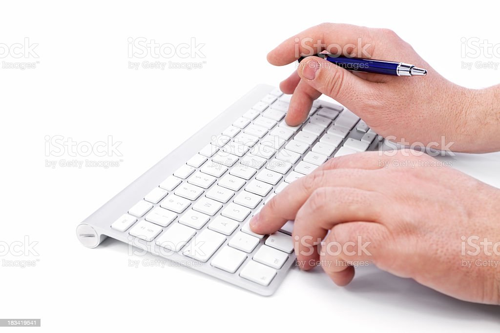 Computer Keyboard and hands royalty-free stock photo