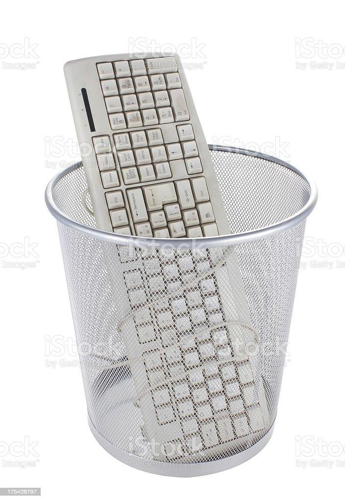 Computer keyboard at garbage. stock photo