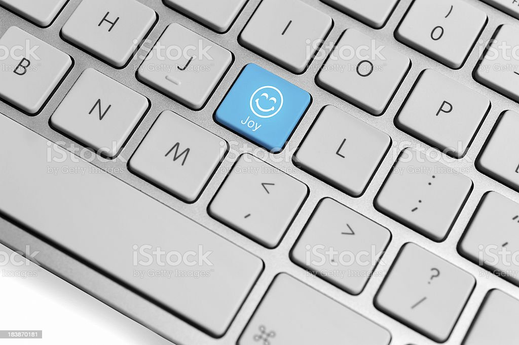 Computer Keyboard close-up with smiley keys royalty-free stock photo
