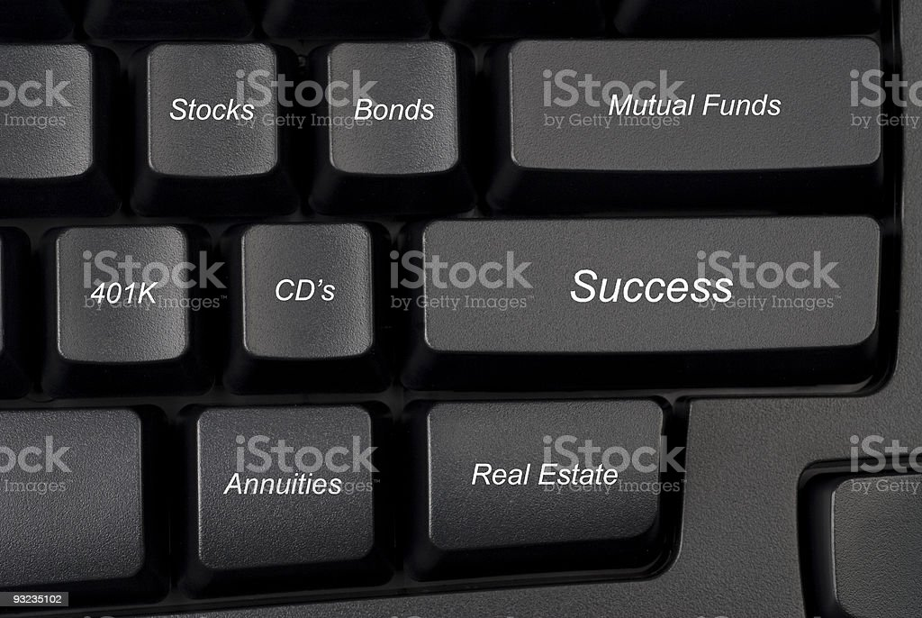 Computer keyboard investment options stock photo