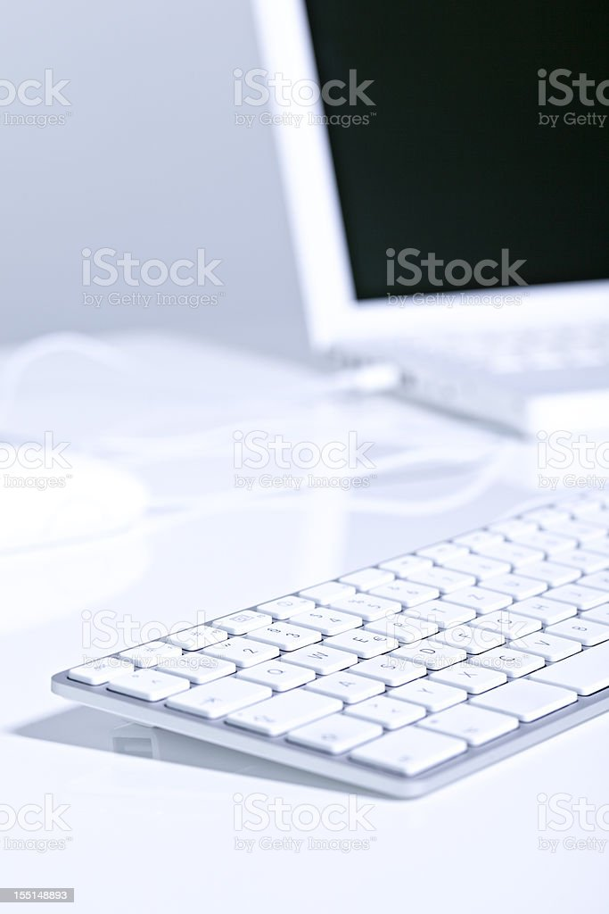 computer keyboard & laptop royalty-free stock photo