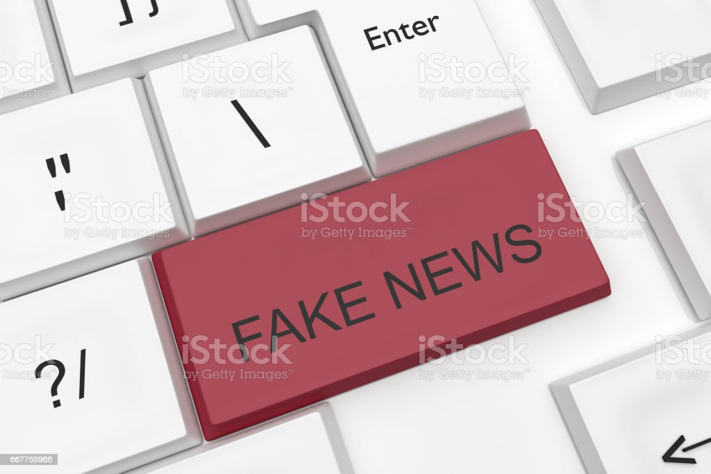 Computer Keyboard Media Concept: Red Fake News Key As A Hot Button, 3d illustration stock photo