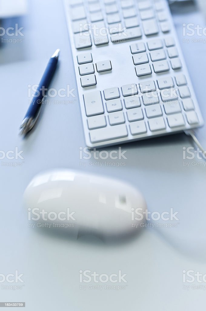 'computer keyboard, mouse, pen, office place' stock photo