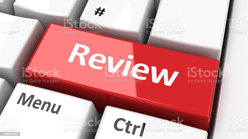 Computer keyboard review stock photo