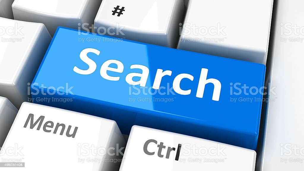 Computer keyboard search stock photo