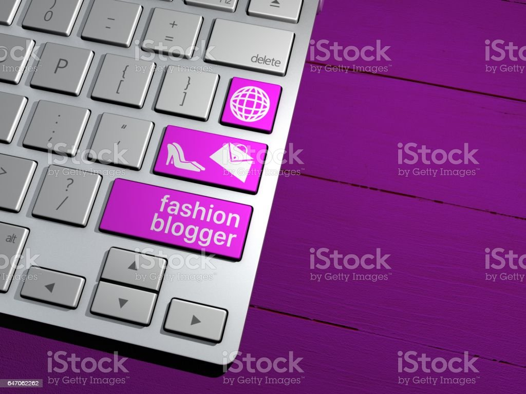 A computer keyboard, the search button. Search Engine, Fashion bloggers, fashion, influencer, style. 3d rendering stock photo