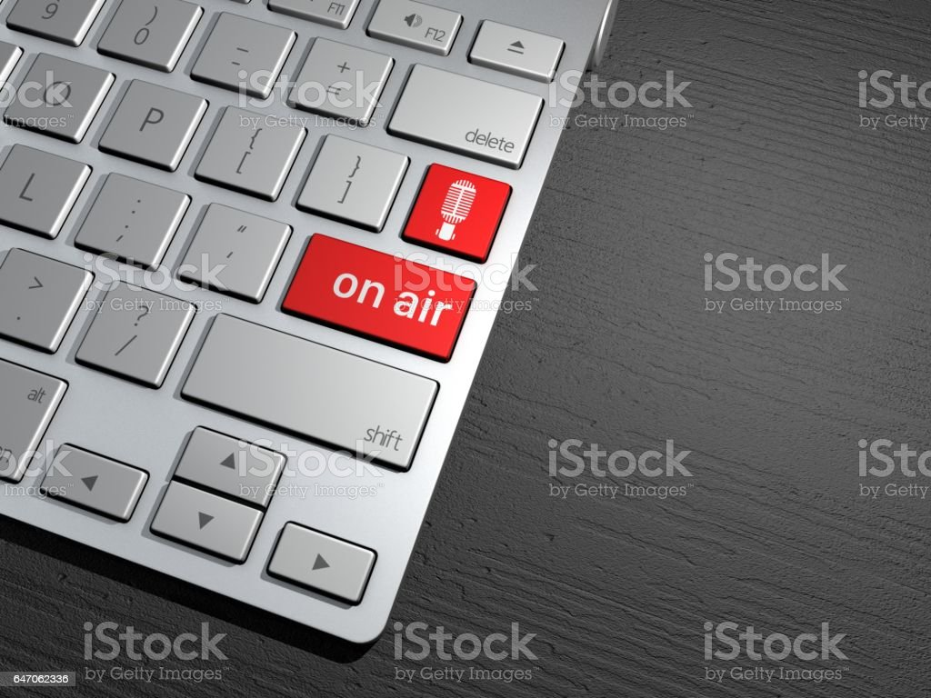 A computer keyboard, the search button. search engine, go on the air, to record, on air. 3d rendering stock photo