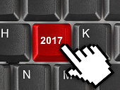 Computer keyboard with 2017 key