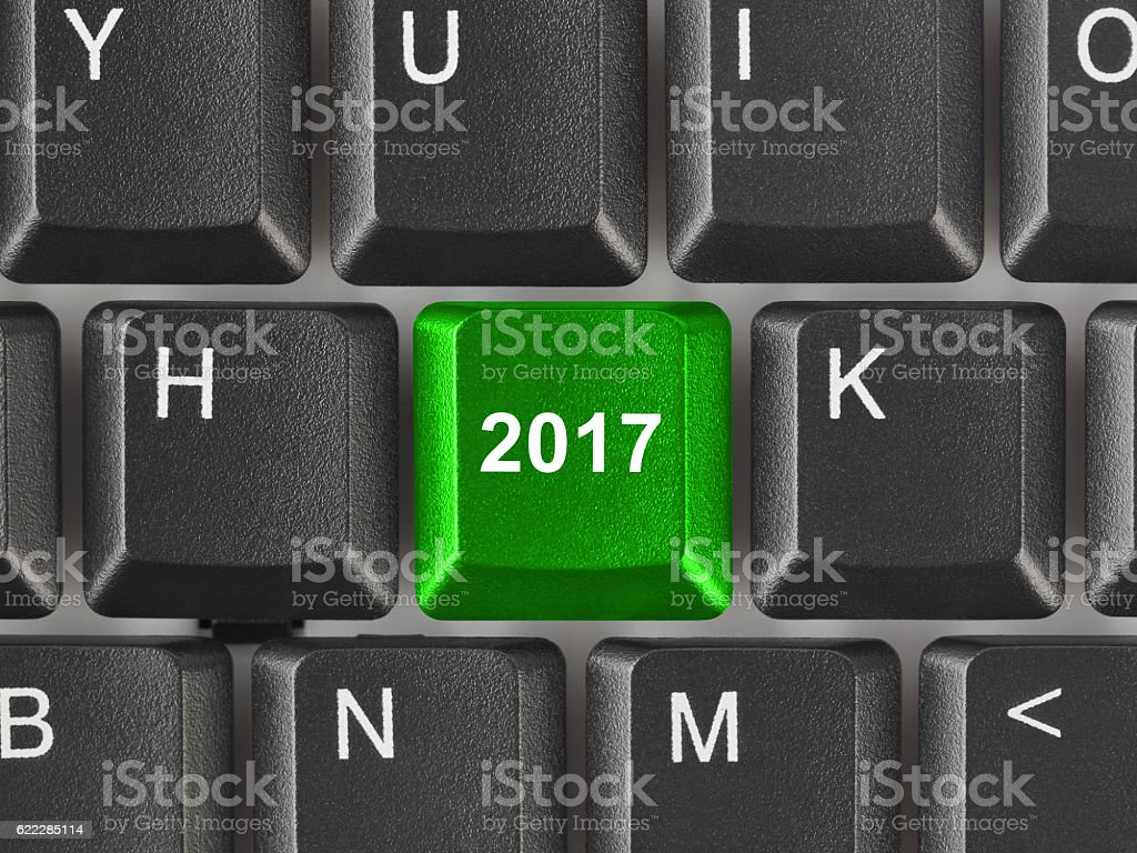 Computer keyboard with 2017 key stock photo