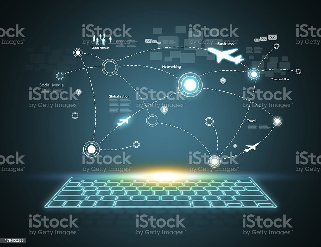 Computer keyboard with airplane travels stock photo