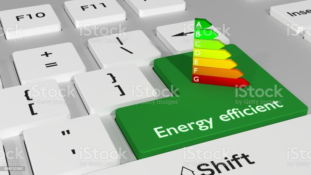 Computer keyboard with an energy efficiency chart stock photo