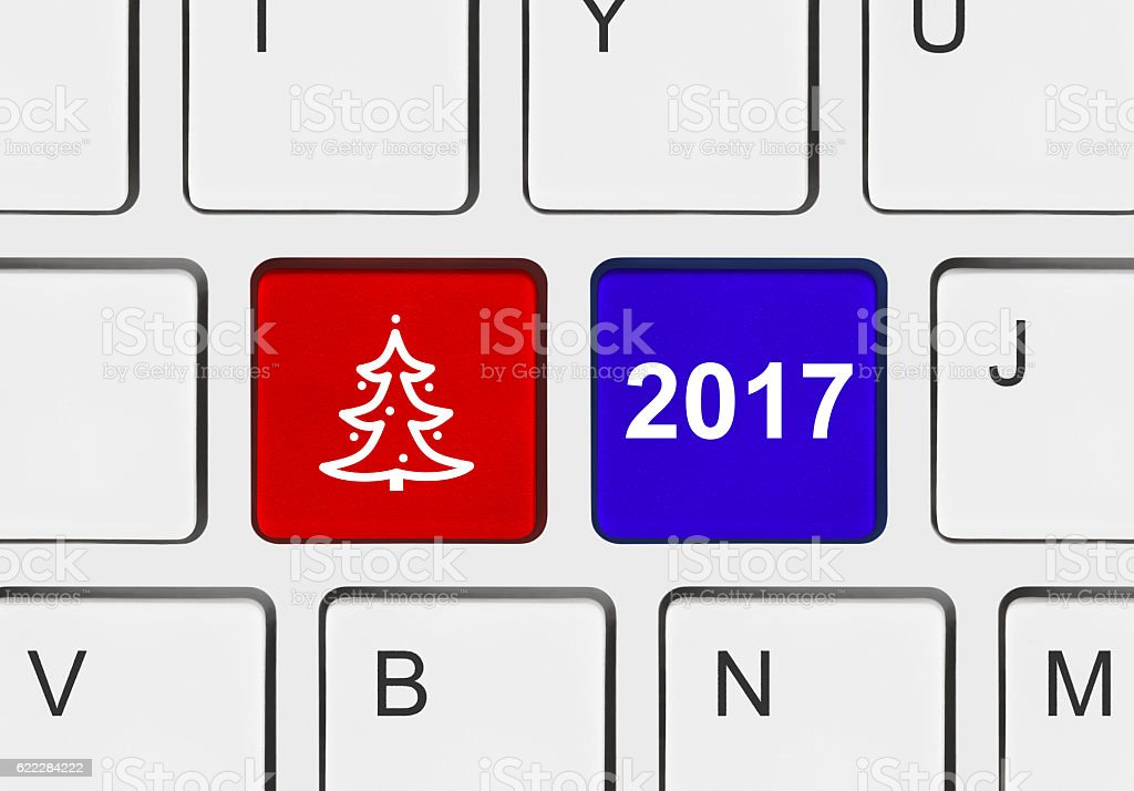 Computer keyboard with Christmas keys stock photo