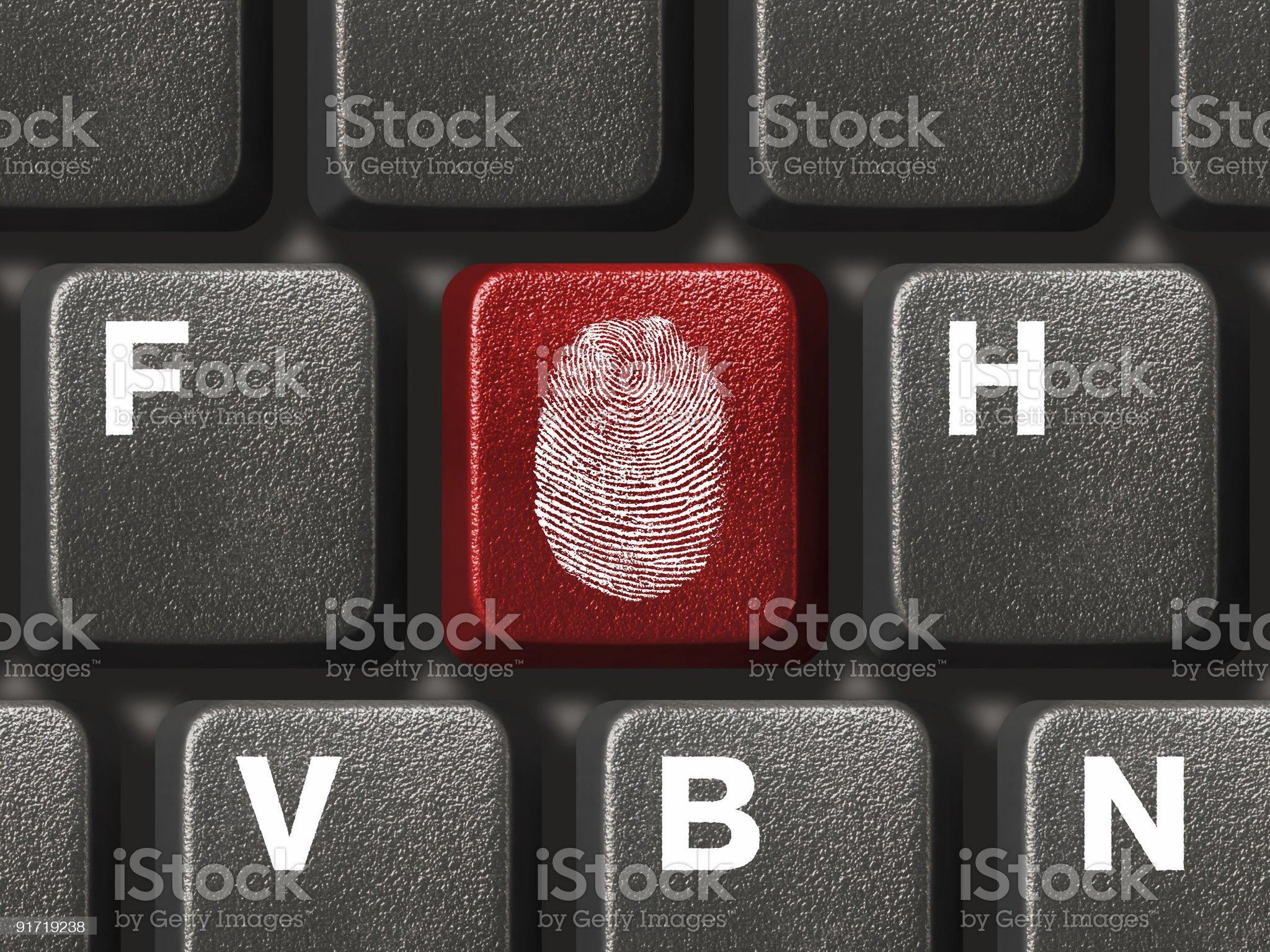 Computer keyboard with fingerprint royalty-free stock photo