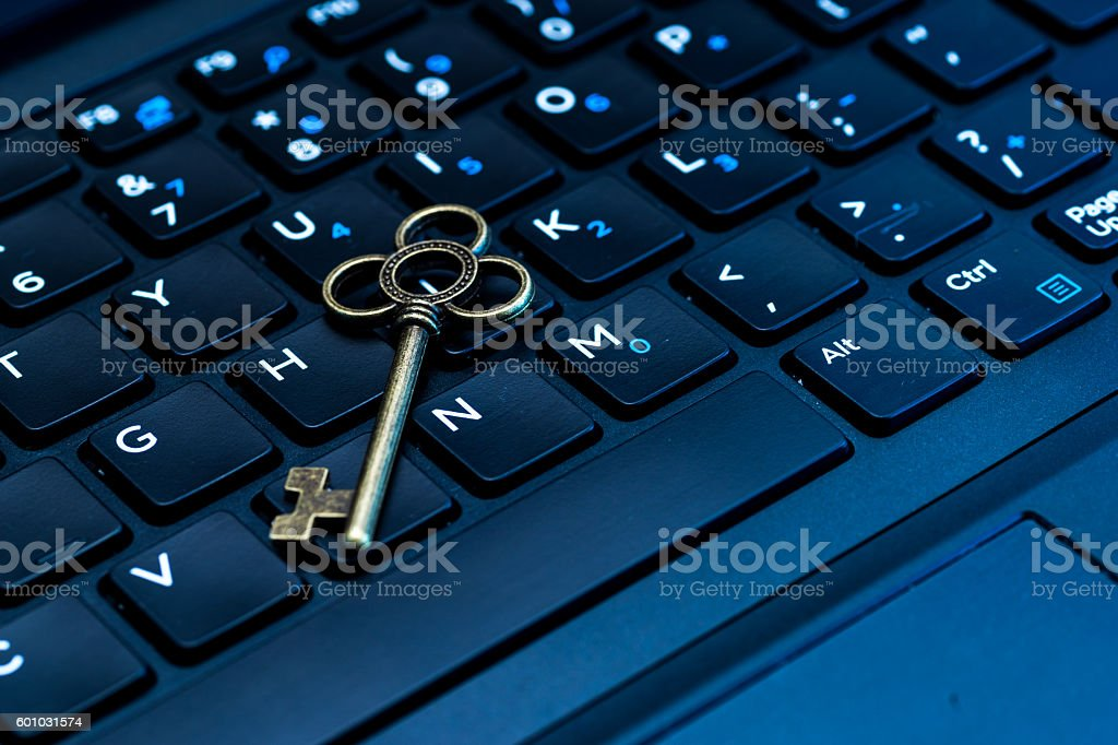 Computer keyboard with key stock photo