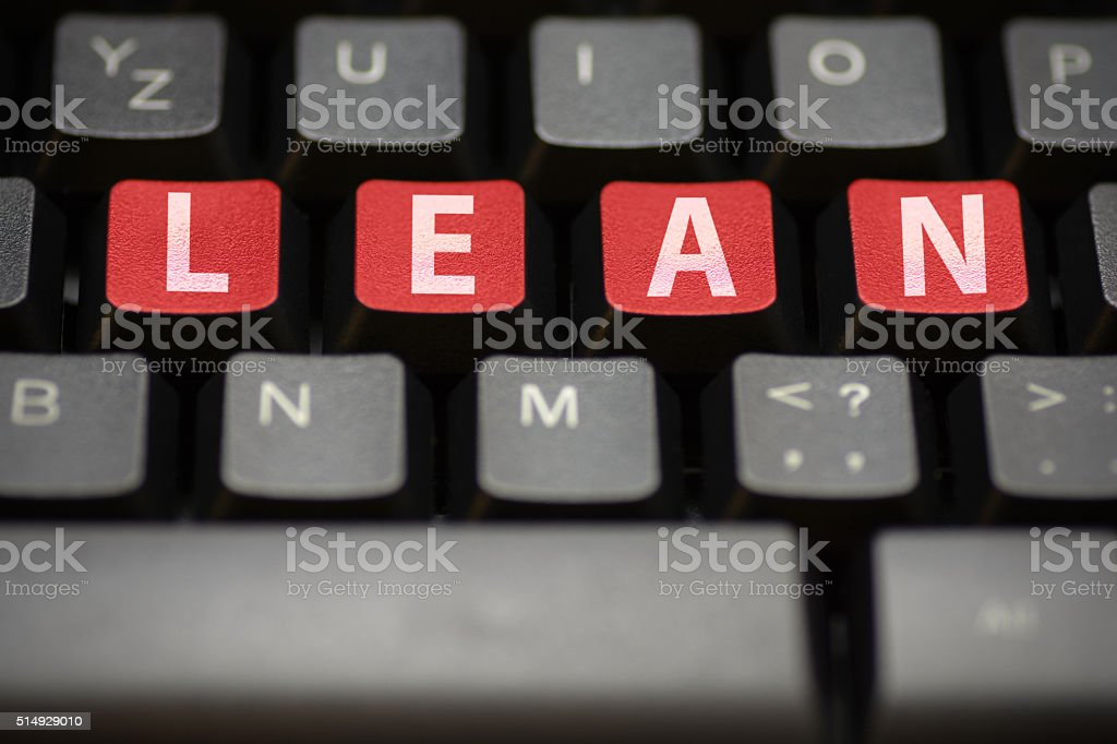 Computer keyboard with lean title stock photo
