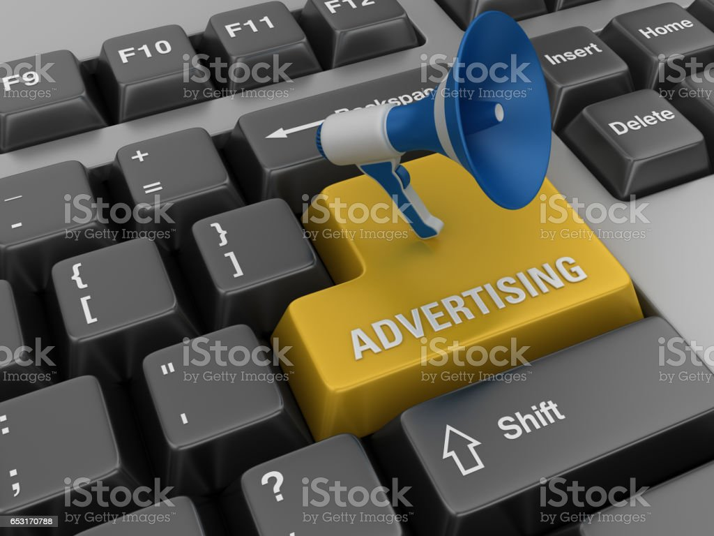 Computer Keyboard with Megaphone and Advertising Word stock photo