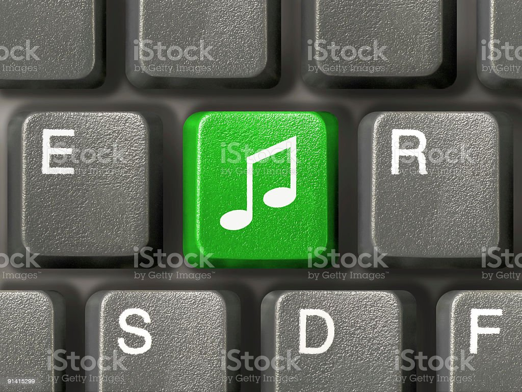 Computer keyboard with music key royalty-free stock photo