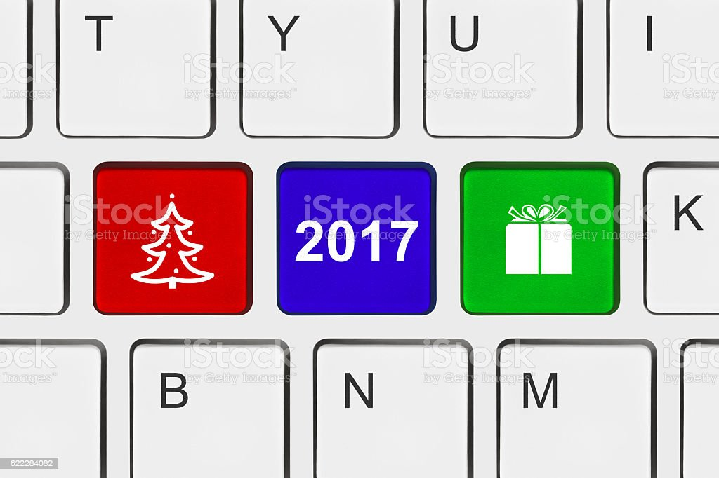 Computer keyboard with New Year keys stock photo