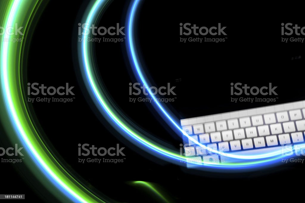 computer keyboard with painting LED light royalty-free stock photo
