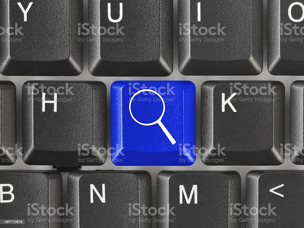 Computer keyboard with search key stock photo