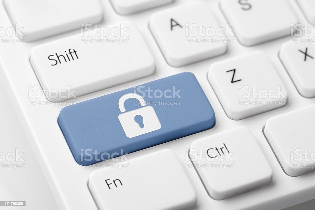 Computer keyboard with security button royalty-free stock photo