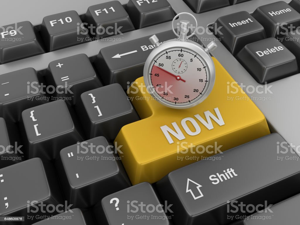 Computer Keyboard with Stopwatch and Now Word stock photo