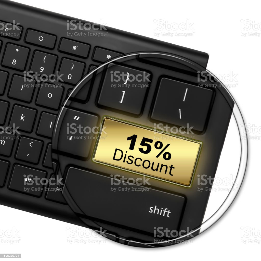 Computer Keyboard with the words 15% Discount, on a bright shiny Golden Button. Special Offer Button. 3D stock photo