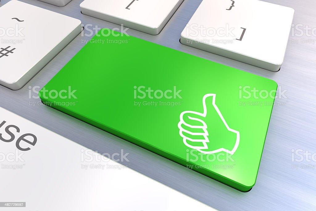 Computer keyboard with thumb gesturing hand key stock photo