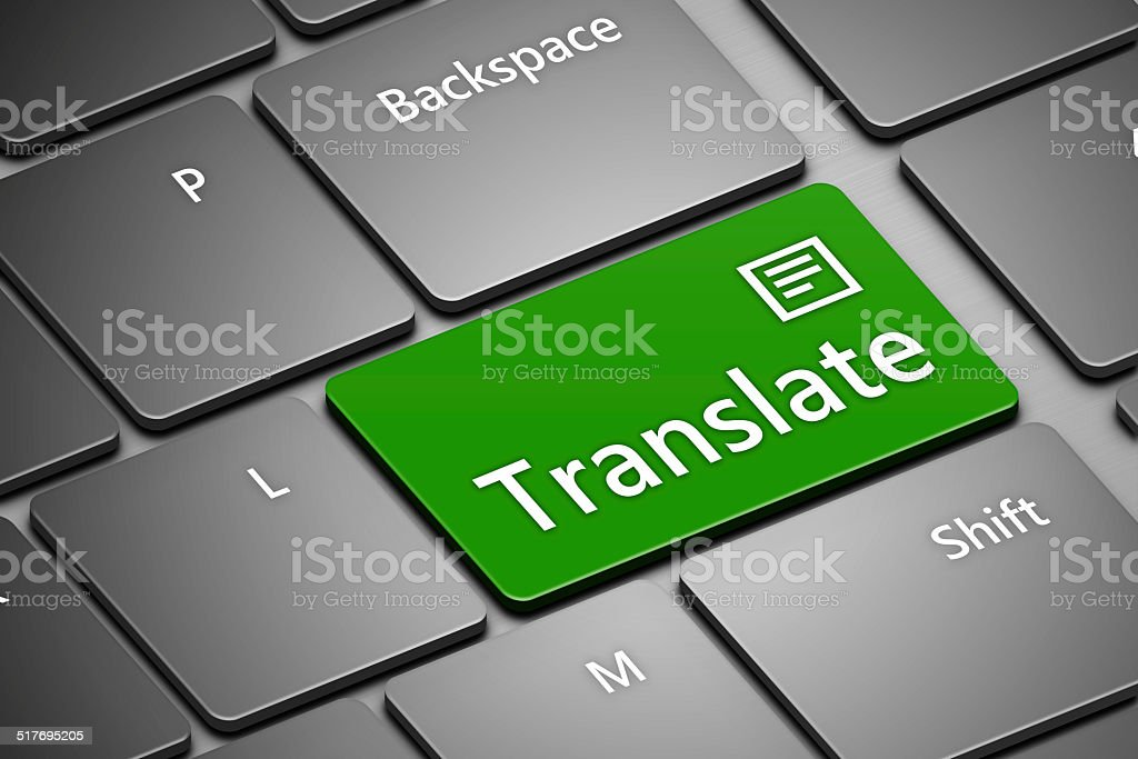 computer keyboard with translate button stock photo