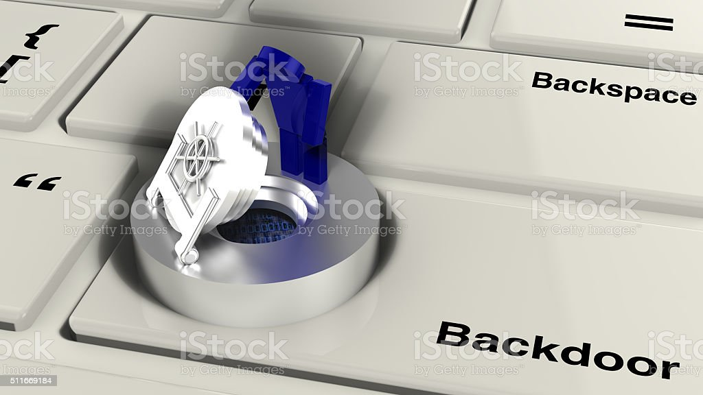 Computer keyboard with vault stock photo