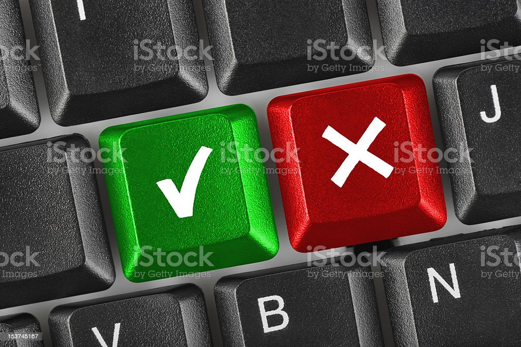 Computer keyboard with Yes and No keys royalty-free stock photo