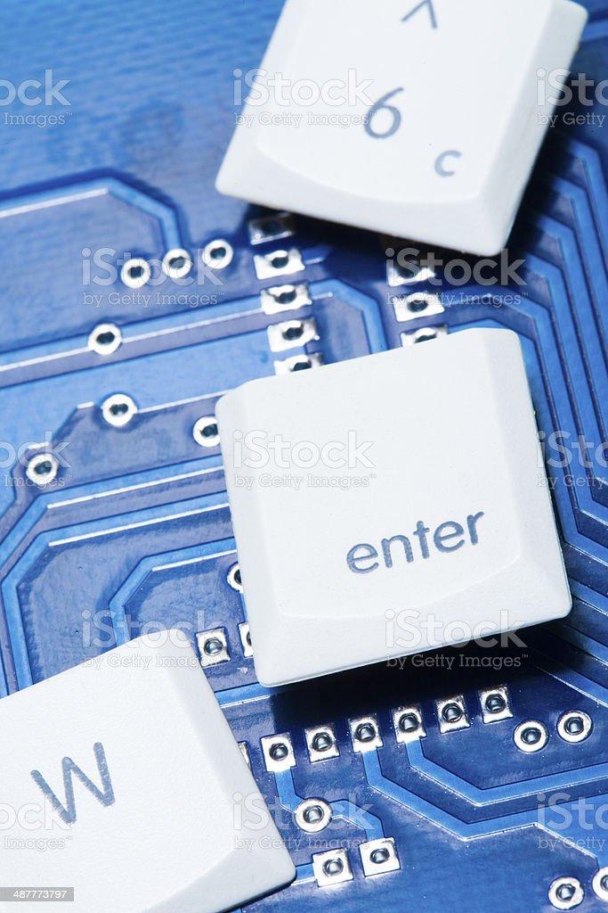 computer keys on circuit board stock photo