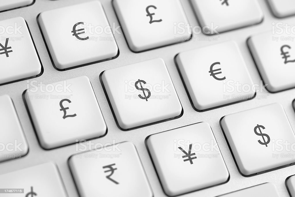 Computer keys with currency symbols royalty-free stock photo